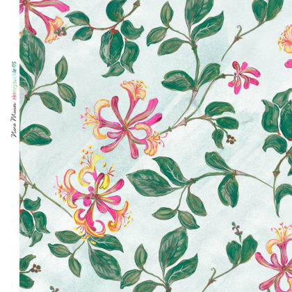 Linen fabric printed with a repeat design of delicate pink and green floral and leaf pattern on pale aqua background
