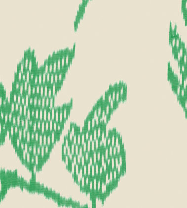 Linen fabric printed with a traditional leaf ikat repeat design with bright green pattern on linen background