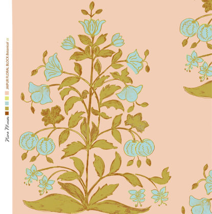 Linen fabric printed design of traditional detailed large floral repeat pattern in caramel and aqua blue on pale peach background