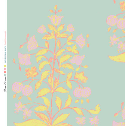 Linen fabric printed design of traditional detailed large floral repeat pattern in coral and chartreuse on pale aqua blue background