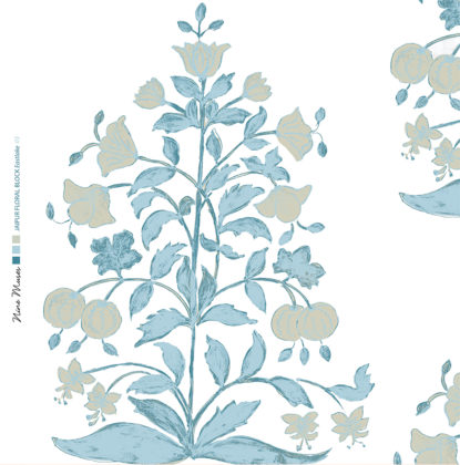 Linen fabric printed design of traditional detailed large floral repeat pattern in pale blue and taupe on white background