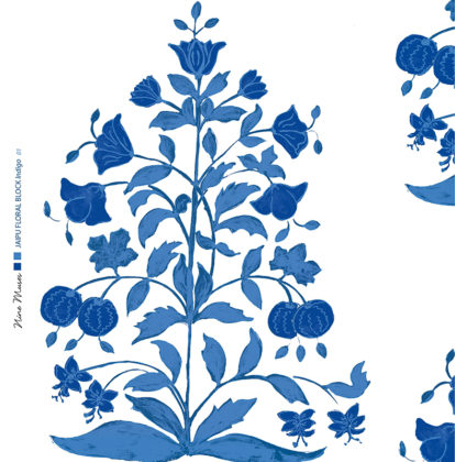 Linen fabric printed design of traditional detailed large floral repeat pattern in indigo blue on white background