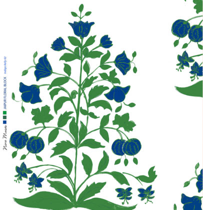 Linen fabric printed design of traditional detailed large floral repeat pattern in blue and green on white background