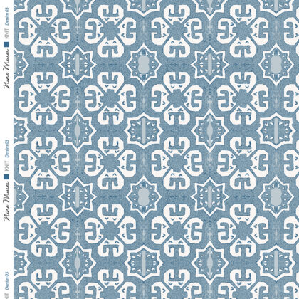Linen fabric printed with a geometric knit repeat pattern in two shades of light and mid blue