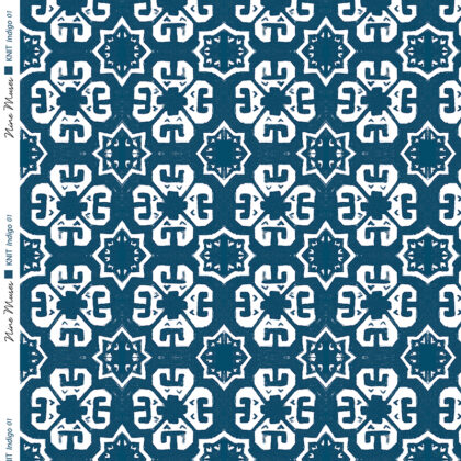 Linen fabric printed with a geometric knit repeat pattern in two shades of indigo blue