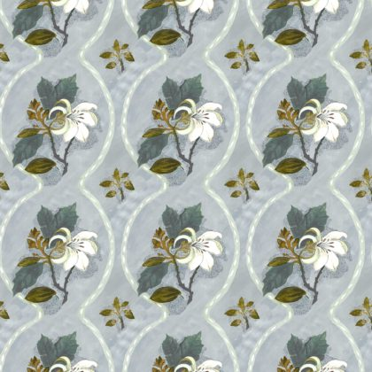 Linen fabric printed with repeat pattern of floral design in duckegg blue green grey