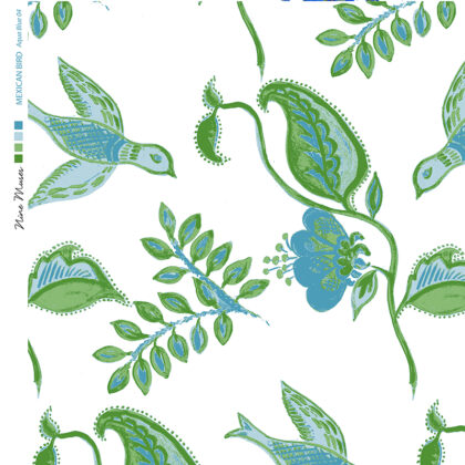Linen fabric printed with repeat pattern in bird and botanical design in aqua green blue
