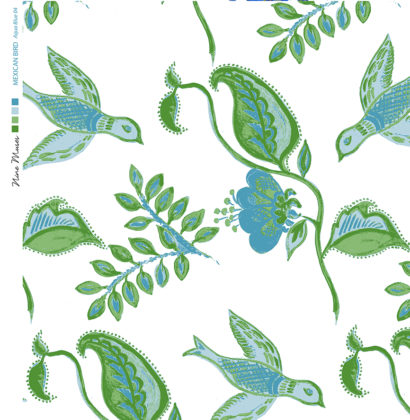 Linen fabric printed design with bird flower and leaf floral repeat pattern in aqua blue and green on white background