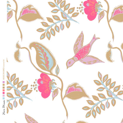 Linen fabric printed design with bird flower and leaf floral repeat pattern in taupe and pink on white background