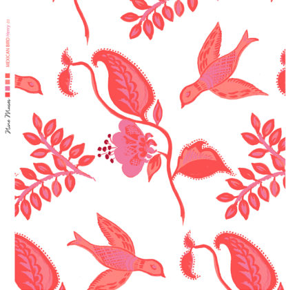 Linen fabric printed design with bird flower and leaf floral repeat pattern in pink red orange on white background