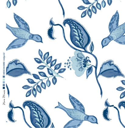 Linen fabric printed design with bird flower and leaf floral repeat pattern in indigo navy blue on white background