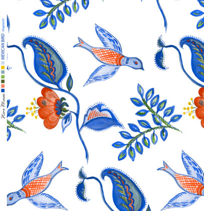 Linen fabric printed design with bird flower and leaf floral repeat pattern in blue and orange on white background