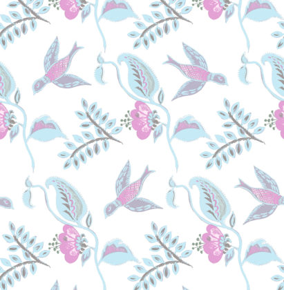 Linen fabric printed design with bird flower and leaf floral repeat pattern in pastel pink and blue on white background