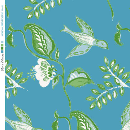 Linen fabric printed design with bird flower and leaf floral repeat pattern in green on mid aqua blue background