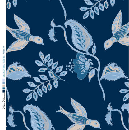 Linen fabric printed design with bird flower and leaf floral repeat pattern in blue on indigo navy blue background