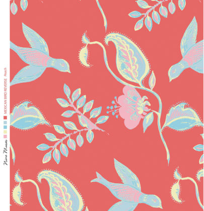 Linen fabric printed design with bird flower and leaf floral repeat pattern in pale aqua blue on deep peach background