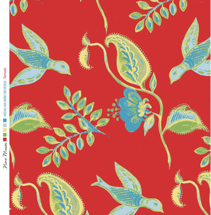 Linen fabric printed design with bird flower and leaf floral repeat pattern in aqua green on tomato red background