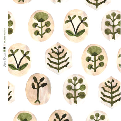 Linen fabric printed with a hand painted botanical design repeat pattern in green and pale gold on white background