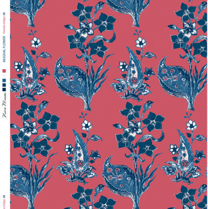 Linen fabric printed design with traditional style floral & leaf repeat pattern in blue on pink red background
