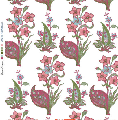 Linen fabric printed design with traditional style floral & leaf repeat pattern in pink and green aqua on white background