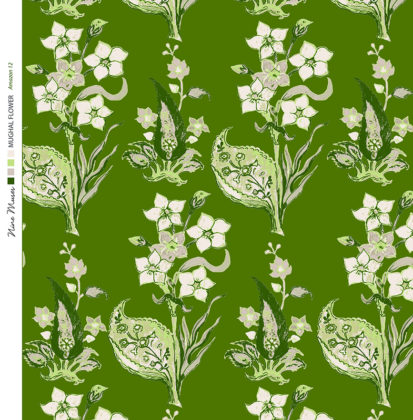 Linen fabric printed design with traditional style floral & leaf repeat pattern in light green on dark green background