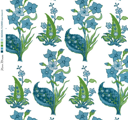 Linen fabric printed design with traditional style floral & leaf repeat pattern in aqua and green on white background