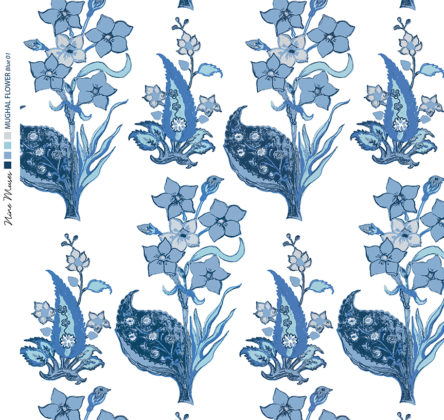 Linen fabric printed design with traditional style floral & leaf repeat pattern in blue on white background