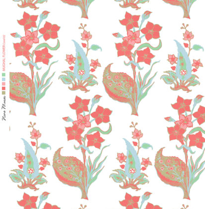 Linen fabric printed design with traditional style floral & leaf repeat pattern in coral and pale aqua blue on white background