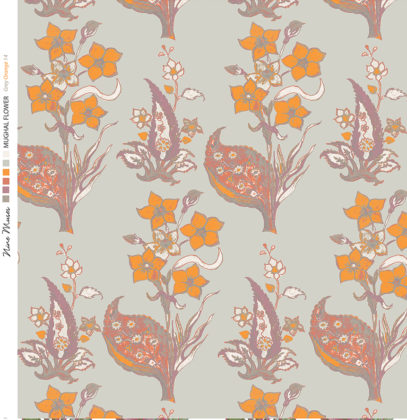Linen fabric printed design with traditional style floral & leaf repeat pattern in orange on grey background