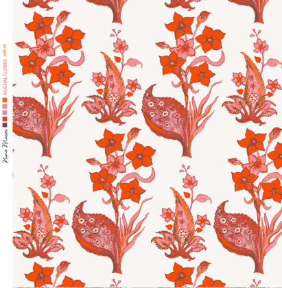 Linen fabric printed design with traditional style floral & leaf repeat pattern in orange on white background