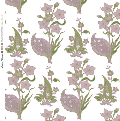 Linen fabric printed design with traditional style floral & leaf repeat pattern in mauve olive on white background