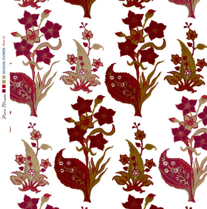 Linen fabric printed design with traditional style floral & leaf repeat pattern in plum and taupe on white background
