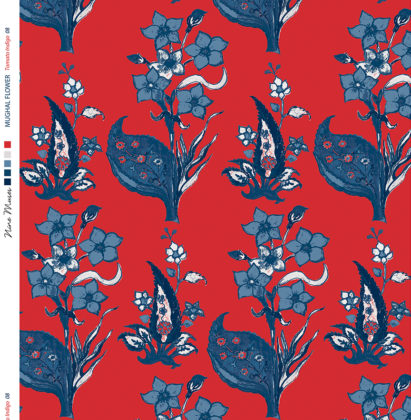 Linen fabric printed design with traditional style floral & leaf repeat pattern in indigo blue on tomato red background