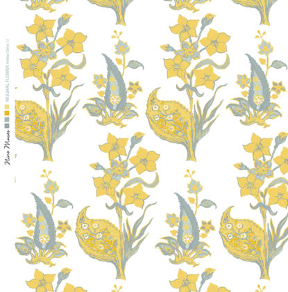 Linen fabric printed design with traditional style floral & leaf repeat pattern in yellow and olive on white background