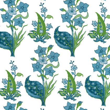 Linen fabric printed with repeat pattern in flower design in aqua green