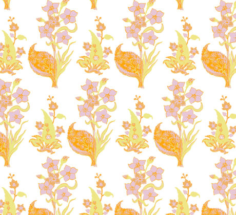 Linen fabric printed design with traditional style floral & leaf repeat pattern in pastel orange on white background