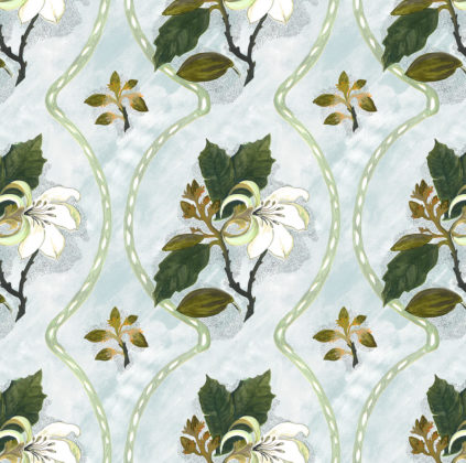 Linen fabric printed design with delicate floral repeat pattern in colour on pale duckegg green blue background
