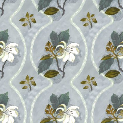 Linen fabric printed design with delicate floral repeat pattern in colour on pale blue grey background