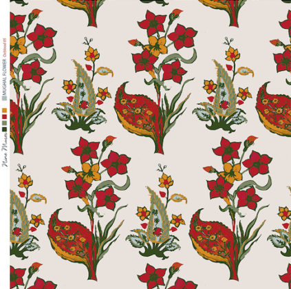 Linen fabric printed design with traditional style floral & leaf repeat pattern in dark red and green on neutral background