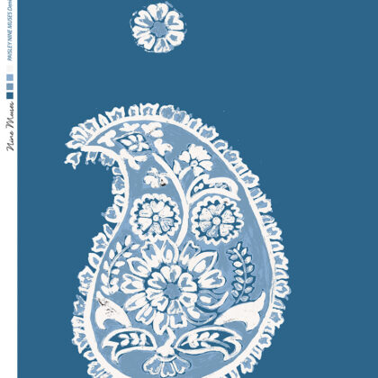 Linen fabric printed with a traditional large paisley repeat design with a blue and white pattern on denim blue background