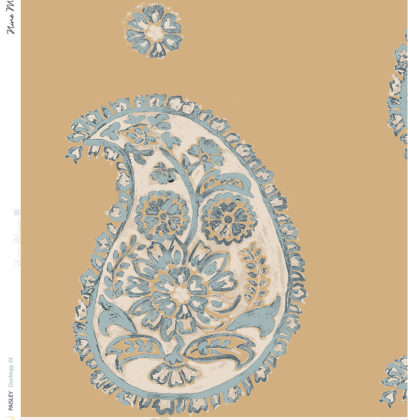 Linen fabric printed with a traditional large paisley repeat design with duckegg pattern on caramel gold taupe background