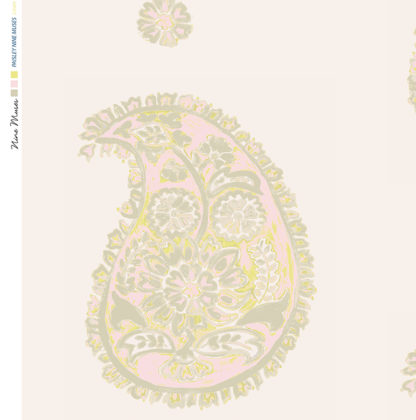Linen fabric printed with a traditional large paisley repeat design with taupe gold pattern on linen neutral background