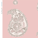 Linen fabric printed with a traditional large paisley repeat design with off white grey pattern on pale shell pink background