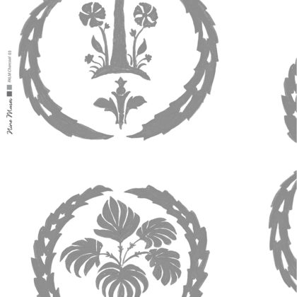 Linen fabric printed with simple palm tree repeat design with charcoal grey pattern on white background