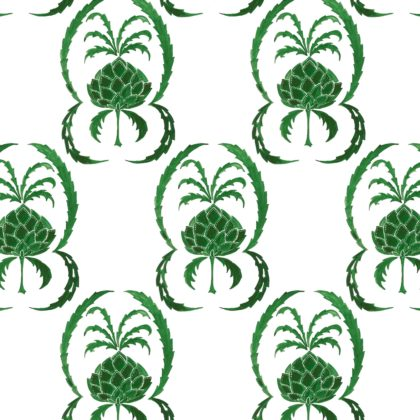 Linen fabric printed in large repeat design of simple hand painted pineapple pattern on white background in bright green