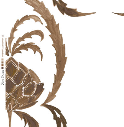 Linen fabric printed in large repeat design of simple hand painted pineapple pattern on white background in cardamom brown