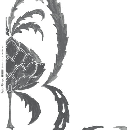 Linen fabric printed in large repeat design of simple hand painted pineapple pattern on white background in charcoal grey