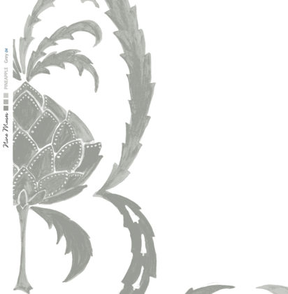 Linen fabric printed in large repeat design of simple hand painted pineapple pattern on white background in pale grey