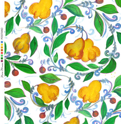 Linen fabric printed with bright colour repeat design of pears and leaves pattern in yellow and green on white