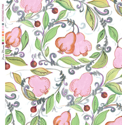 Linen fabric printed with bright colour repeat design of pears and leaves pattern in pink and green on white